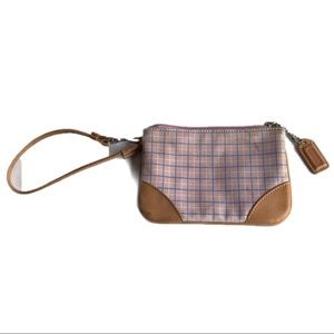Coach Pink Plaid Small Wristlet Pouch Bag Fabric
